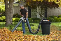 The WORX LeafPro universal leaf collection system fits all major brands of gas and electric leaf blowers and vacuums on the market for easier yard cleanup! Leaf Compost, Compost Tea, Lawn Vacuum, Leaf Clean Up, Weeds In Lawn, Landscaping Tools, Bad Room Ideas, Yard Tools, Lawn And Landscape
