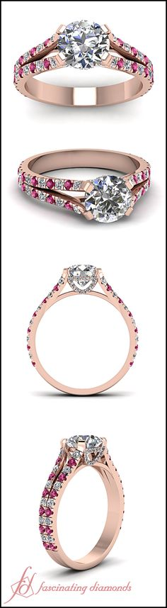 Impeccable Ring     Round Cut Diamond Side Stone Ring With Pink Sapphire In 14k Rose Gold