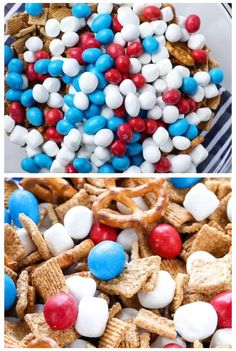 Try this festive red, white, and blue trail mix made with M&M'S® Peanut Red, White & Blue Candies. It's always a hit! rezepte selber machen mix mix bar mix bar wedding mix recipes mix recipes for kids Fourth Of July Crafts For Kids, Fourth Of July Food, 4th Of July Party, Patriotic Party, Patriotic Recipe, Patriotic Crafts, July 4th, Trail Mix Recipes, Snack Mix Recipes