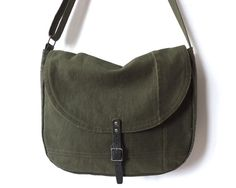 Military Canvas Messenger Bag WWII Canvas Leather Cross by Lindock, $100.00