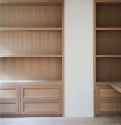 Kapito Muller Interiors.r Rift oak shelves before the installation