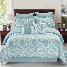 Dawson Reversible Comforter Set in Blue/White