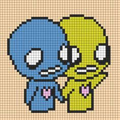 Pon And Zi Holding Hands Perler Bead Pattern / Bead Sprite