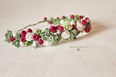 Saftiges Headwreath Marsala Beeren Stirnband Blume Krone Floral Tiara grün rot Sumer Stirnband Blumen Landhaus Kranz