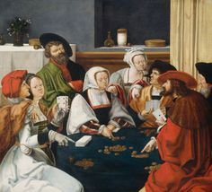 Card players by the Dutch painter Lucas van Leyden A mixed group of men and women are playing cards. Leiden, Rembrandt, Tudor Costumes, St Jerome, Tarot, Dutch Golden Age, Dutch Painters, European Paintings, Renaissance