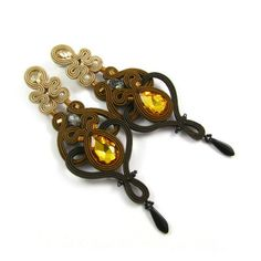 Fancy bilateral dangle openwork brown beige by byPiLLowDesign