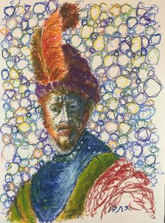 """A man with a feathered hat #2 - a variation on a Rembrandt theme (oil pastel , 18"""" x 24"""", October 5, 2017)"""