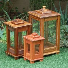 Make a wooden lantern for deck or patio