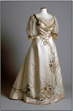 Summer 2013 - chertsey museum - Beautiful Edwardian evening gown by couturier Madame Clapham, c.1901.