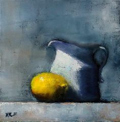 """Daily Paintworks - """"Lemon and Pticher"""" - Original Fine Art for Sale - © Bob Kimball"""