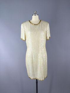 Vintage 1980s Trophy Dress / White & Gold Beaded Cocktail Dress / Destination Wedding
