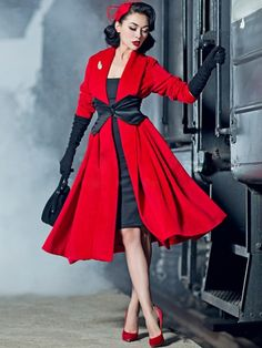 Retro Fashion Waaaaaaay too much money, but beautiful. le palais vintage Elegant Limited big red cashmere loose coat - Click Additional Info for Sizing Chart Mode Rockabilly, Rockabilly Fashion, 1950s Fashion, Vintage Fashion, Fashion 2018, Women's Fashion, 1950s Inspired Fashion, Rockabilly Dresses, Dress Fashion
