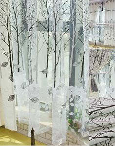 Artful Bedroom Modern and Decorative Tree print curtains