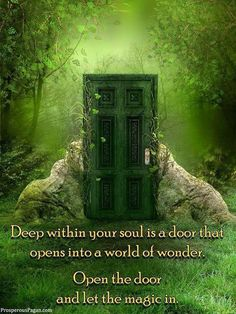 Deep Within Your Soul is A Door That Opens Into a World of Wonder. Open the Door & Let the Magick In. Believe In Magic, Spiritual Awakening, Spiritual Power, Spiritual Enlightenment, Spiritual Path, Spiritual Growth, Faeries, That Way, Namaste