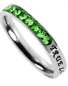 Princess Cut August Birth Stone Ring ooh I want one of these for each kid!! Peridot, Alice