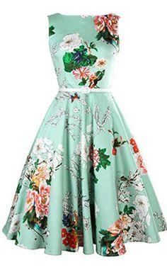 Vintage Women's Jewel Neck Sleeveless Floral Print Belted A-Line Dress via @bestchicfashion