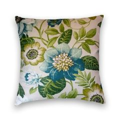 Blue/Green Pillow Cover--18x8 or 20x20 or 22x22 Floral Decorative Cotton Throw Pillow--Blue, Green, Cream