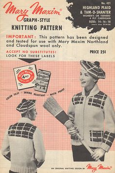 421 Highland Plaid & Tam-O-Shanter (hat or Touque, if Canadian) Mary Maxim