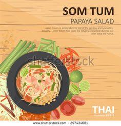 vector illustration design of  Thai food, Som Tum  ,Thai Green papaya salad , with ingredients, top view