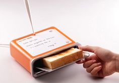 "This toaster by Sasha Tseng incorporates a little message board where one can read quick notes. The message also gets ""toasted"" into the toast itself so it gives new meaning to ""read while you eat"". Via Yanko Design Gadgets And Gizmos, Cool Gadgets, Geek Gadgets, Articles Divers, Innovation, Genius Ideas, Home Luxury, Hallowen Ideas, Take My Money"