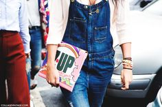 Milan_Fashion_Week_Spring_Summer_15-MFW-Street_Style-Denim_Overall-7up_Clutch-
