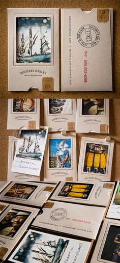 These brilliant business cards are not only wonderfully executed but also creatively designed to double as a mini portfolio presentation for the photographer the cards represent.