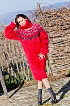 Tiffy Mohair Hand Knitted T Neck Icelandic Sweater Dress Fluffy s M L T223 | eBay
