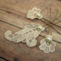 Wish I found these for my wedding. Wedding hairpin set made of vintage lace and by AdornmentsNYC, $48.00