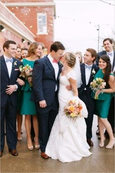 teal + black bridal party | Ben Q #wedding