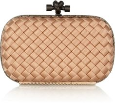 03101b6ef3c Bottega Veneta The Knot intrecciato satin clutch Pink Handbags