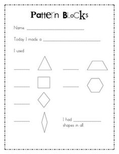 Wills Kindergarten: FREE Pattern block response page. Students choose a picture card, make it with pattern blocks and then break it down on the recording sheet. Preschool Math, Math Classroom, Kindergarten Math, Fun Math, Teaching Math, Math Activities, Teaching Ideas, Maths, Classroom Organization