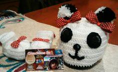 Guillerminas y gorro panda nena crochet
