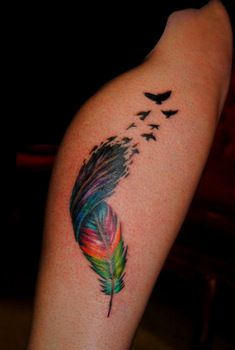 I like this idea for color - Rainbow Feather Tattoo by The Red Parlour Tattoo Woodside Queens NY NY