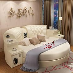 Online Shop hot sale meter sexy leather Round Bed Double Bed Wedding Bed with speaker and USB Girl Bedroom Designs, Modern Bedroom Design, Bed Design, Home Bedroom, Bedroom Furniture, Furniture Design, Bedroom Decor, Bedroom Ideas, Bedrooms