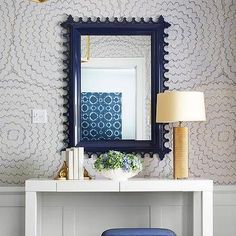 Navy and Gold Foyer with Wainscoting