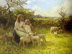 Feeding the Lambs by Ernest Higgins Rigg