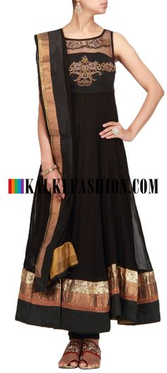 Buy Online from the link below. We ship worldwide (Free Shipping over US$100) http://www.kalkifashion.com/black-anarkali-suit-with-zardosi-work.html Black anarkali suit with zardosi work