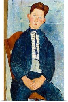 Amedeo Modigliani Poster Print Wall Art Print entitled Boy in a Striped Sweater, None