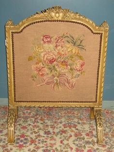 Vintage Hand Carved Fire Screen With Original Cream Paint And Needlepoint Floral Panel