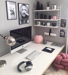 trendy home office pink desk organization Study Room Decor, Cute Room Decor, Bedroom Desk, Room Ideas Bedroom, Bedroom Girls, Diy Bedroom, Bedroom Inspo, Bedroom Colors, Home Office Design