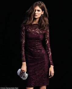 FIRST LOOK: Supermodel princess Kendra Spears smoulders in burgundy lace in Next's stunning new winter campaign Beauty And Fashion, Fashion Mode, Look Fashion, Womens Fashion, Fantasy Fashion, Dress Skirt, Lace Dress, Bodycon Dress, Pretty Dresses