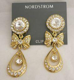 1990's Stunning Nordstrom Crystal & Cubic Zirconia Drop Clip on Earrings #Nordstom #DropDangle