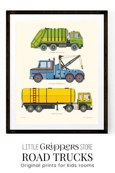 Choose a favourite vehicle, from a selection of transportation prints to decorate a truck loving kids room. Loved by older kids as well as young these hand-designed prints are the perfect addition to any nursery or toddlers room. #Roadtrucks #poster #vehicles #city #kidswallart #littleboysroom #toddlerdecor #truckprints #printable Toddler Room Decor, Boys Room Decor, Playroom Decor, Kids Decor, Kids Room, Car Wall Art, Art Wall Kids, Nursery Prints, Nursery Wall Art
