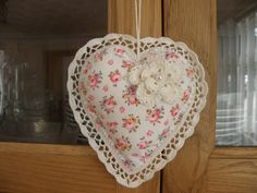 Vintage padded fabric with crochet - heart shape