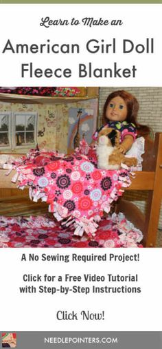 Make a quick and easy blanket for your American Girl doll with this free video tutorial. This is a no sewing required project! Make a quick and easy blanket for your American Girl doll with this free video tutorial. This is a no sewing required project! Sewing Doll Clothes, Sewing Dolls, Girl Doll Clothes, Doll Clothes Patterns, Girl Dolls, Doll Patterns, Diy Clothes, Sewing Box, Ag Dolls