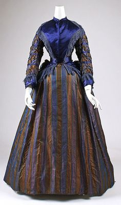 Silk day dress, ca. 1870