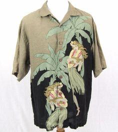 Tommy Bahama Hawaiian Shirt XL Hula Girl Ukulele Grass Skirt Linen Aloha Camp #TommyBahama #Hawaiian