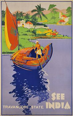 """Travel poster signed """"D"""", 1930s, See India, Travancore State."""
