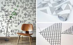 embroidered and hand block printed triangle wallpaper