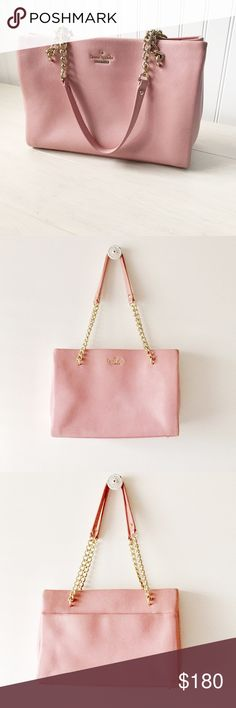 "Kate Spade Emerson Place smooth Phoebe shoulderbag Pretty & polished. Featuring a simple divided interior, leather,  snap tab closure. 12"" W x 8-1/4"" H x 4-1/4"" D. Has a pink shimmery finish to it. Only used a few times! kate spade Bags Shoulder Bags"